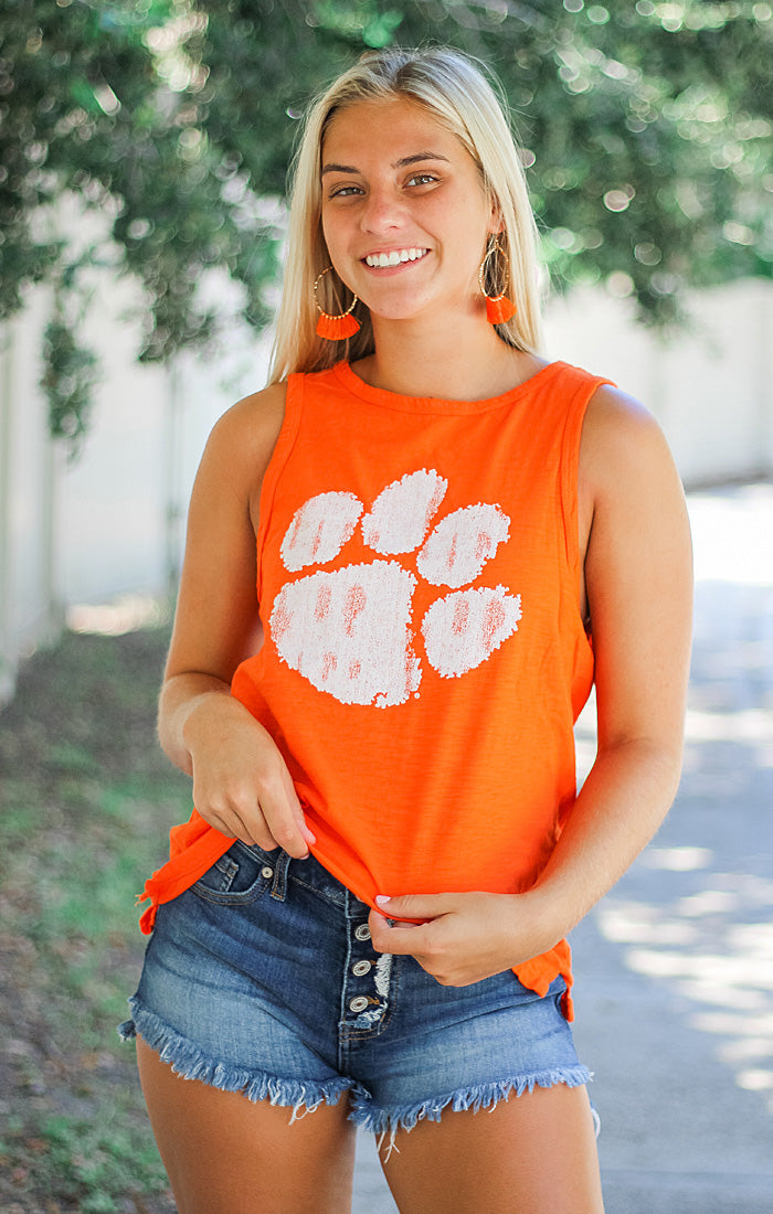 The Lindsay Clemson Paw Muscle Tank