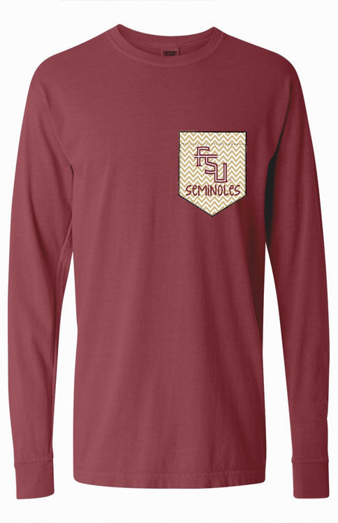 FSU Gold Chevron Long Sleeve Pocket Tee Long Sleeve Tee Comfort Colors - Bows and Arrows FSU Seminoles and UF Gators Women's Game Day Dresses and Apparel
