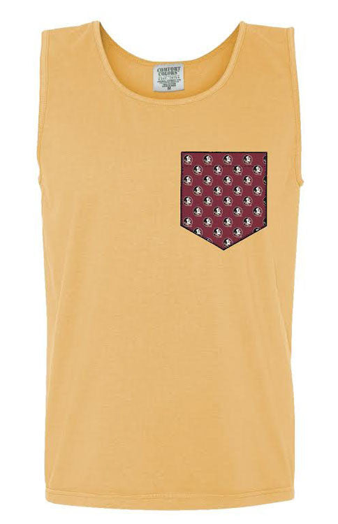 Garnet and Gold Seminoles Pocket Tank Tank Comfort Colors - Bows and Arrows FSU Seminoles and UF Gators Women's Game Day Dresses and Apparel