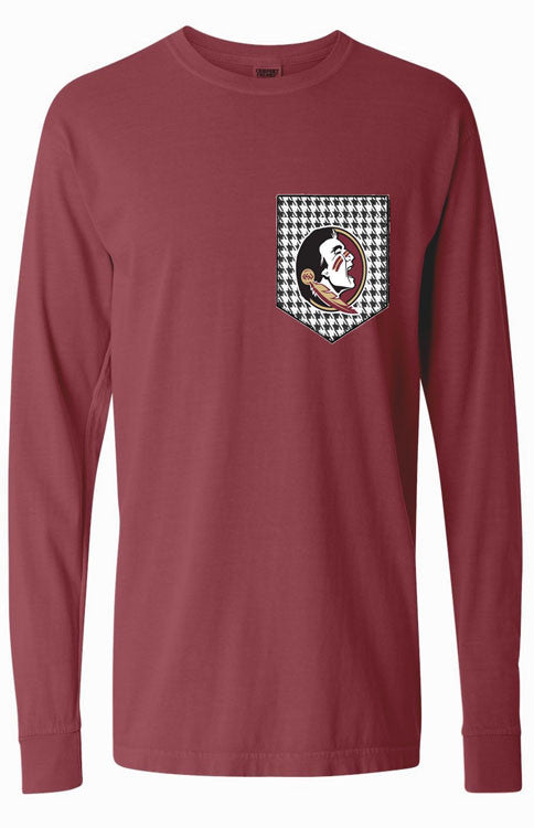 Seminoles Houndstooth Long Sleeve Pocket Tee Long Sleeve Tee Comfort Colors - Bows and Arrows FSU Seminoles and UF Gators Women's Game Day Dresses and Apparel