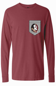 Seminoles Houndstooth Long Sleeve Pocket Tee Long Sleeve Tee Comfort Colors - Bows and Arrows FSU Seminoles and UF Gators Women's Game Day Dresses and Apparel (6342054337)