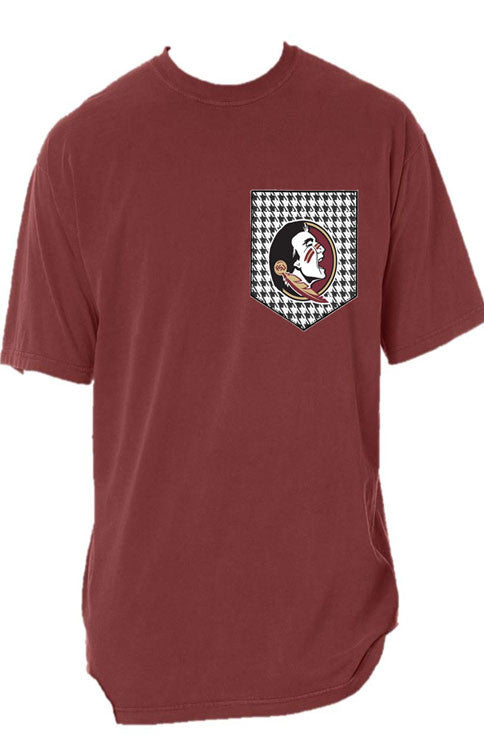 Seminoles Houndstooth Short Sleeve Pocket Tee Tee Comfort Colors - Bows and Arrows FSU Women's Game Day Dresses and Apparel