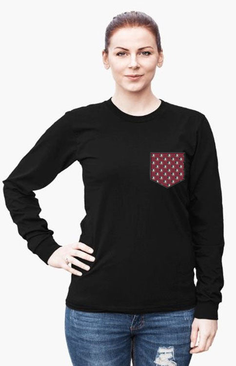 Garnet Seminoles Long Sleeve Pocket Tee Long Sleeve Tee Comfort Colors - Bows and Arrows FSU Seminoles and UF Gators Women's Game Day Dresses and Apparel