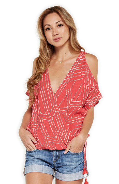 Vintage Coral Printed Cold Shoulder Top