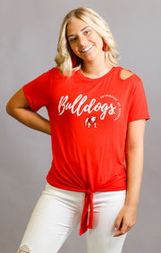 Georgia Bulldogs Cut it Out Tie Front Tee