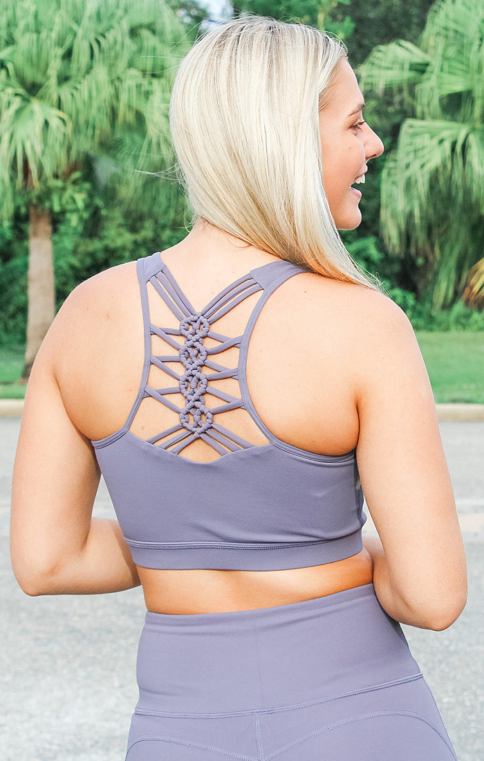 The Racer Dragon Braid Sports Bra (Plum Grey)
