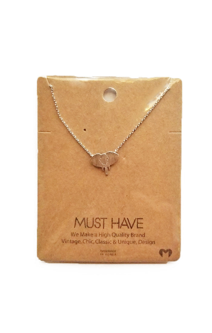 Elephant Dainty Necklace - Silver (3904591167536)