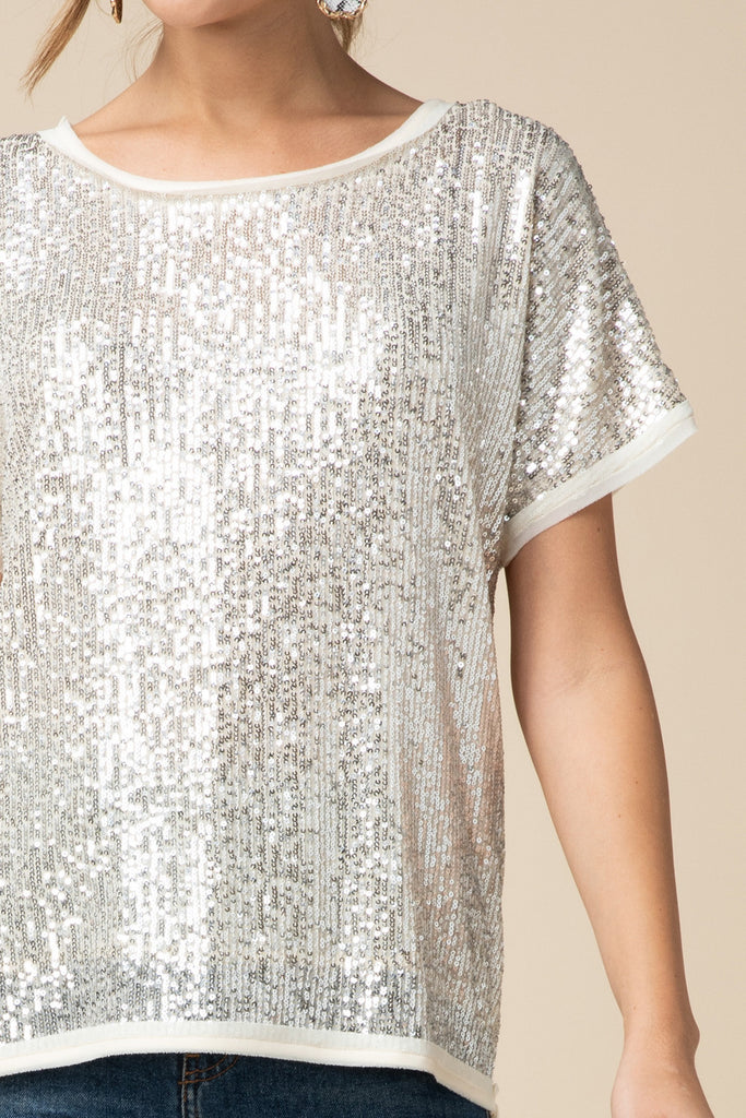 The Stella Sequin Tee - Gold