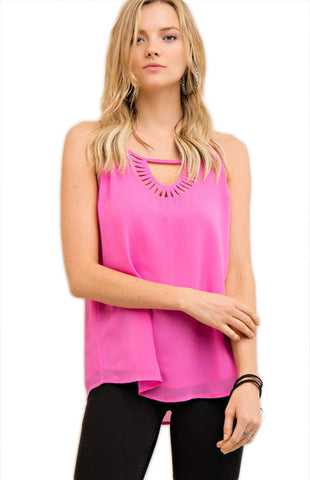 Hot Pink Cut-Out Cami Tank Entro - Bows and Arrows FSU Seminoles and UF Gators Women's Game Day Dresses and Apparel