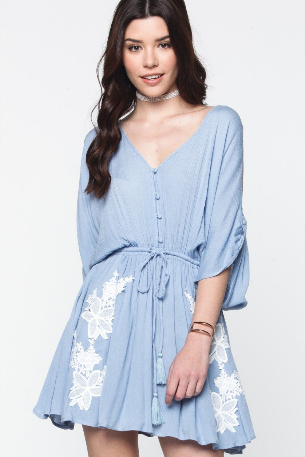 Sky Blue Cold Shoulder Dress