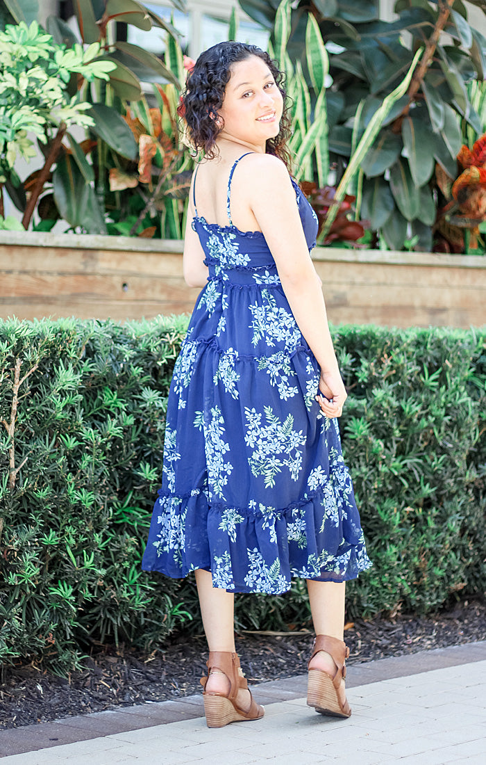 The Ruffled & Floral Midi Dress