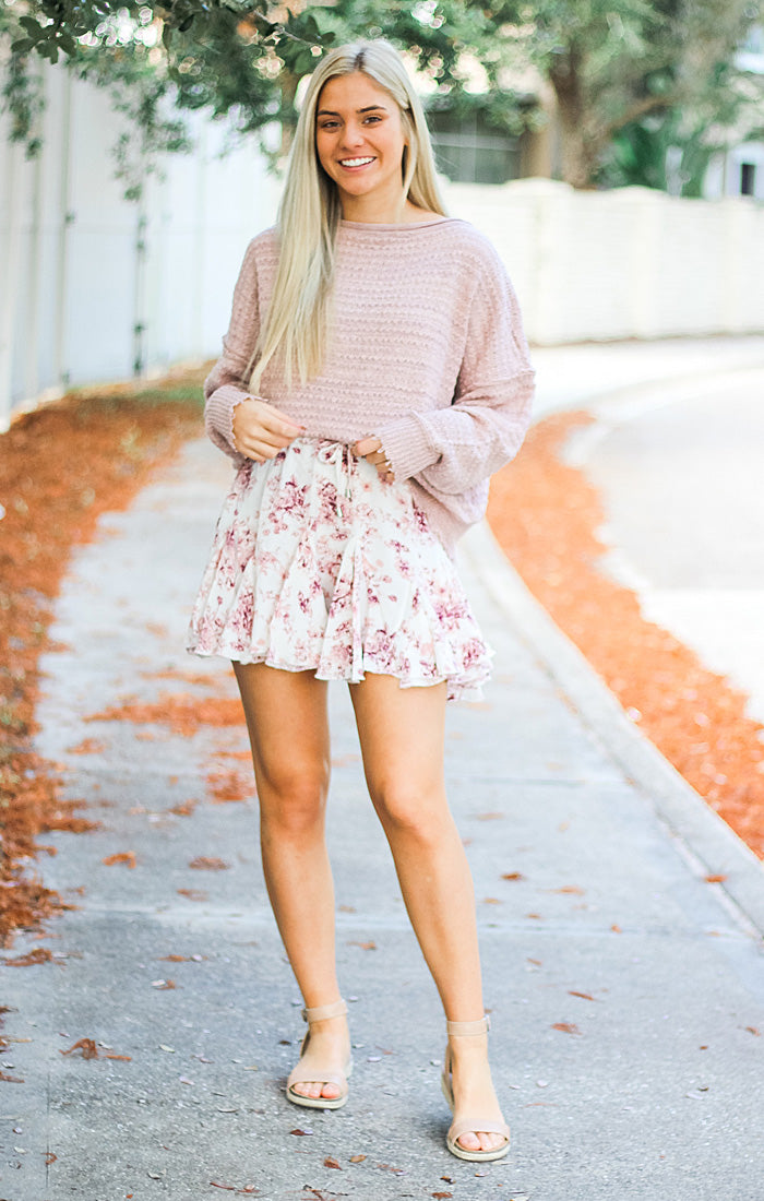 The Floral Ruffle Mini Skirt (Cream)