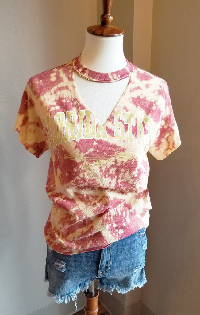 Florida State Bleached Cut-Out Tee