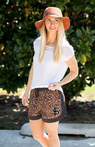 FSU Leopard and Polka Dot Trim Shorts Shorts Game Day Couture - Bows and Arrows FSU Women's Game Day Dresses and Apparel