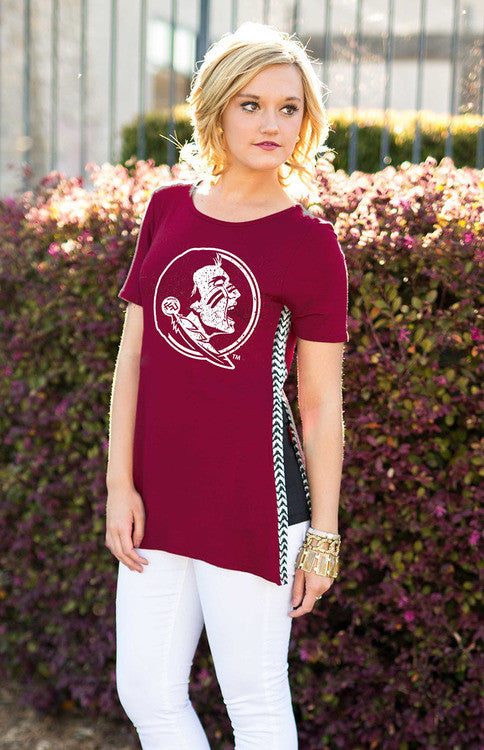 FSU Herringbone Trimmed Side Split Tee Tee Game Day Couture - Bows and Arrows FSU Women's Game Day Dresses and Apparel