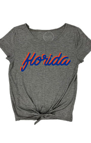 Florida Fan Script Tie Front Top (3771590639664)