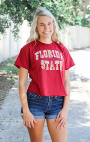 The Erin Vintage Florida State Cropped Tee - Garnet