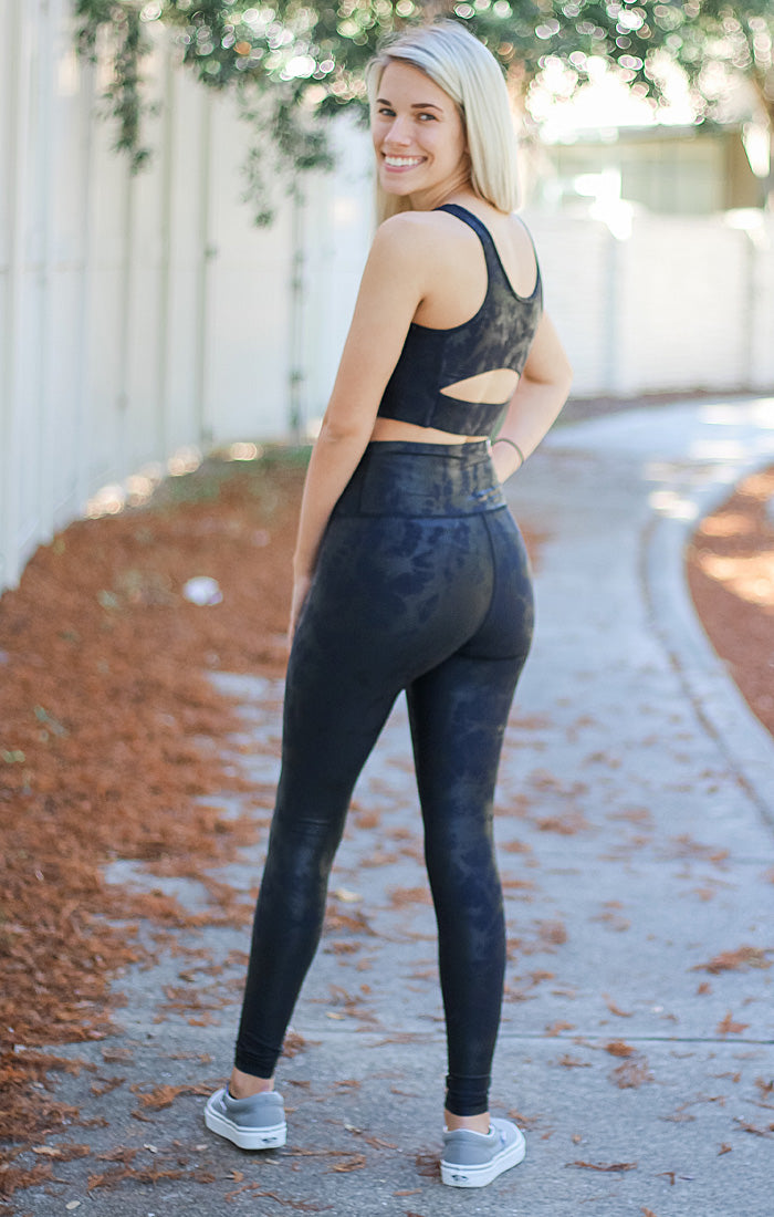 The Navy & Black Foil Sports Bra