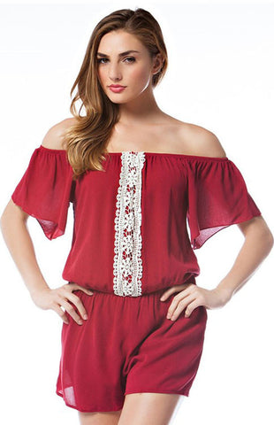 Off Shoulder Flutter Sleeve Romper Romper Entro - Bows and Arrows FSU Seminoles and UF Gators Women's Game Day Dresses and Apparel