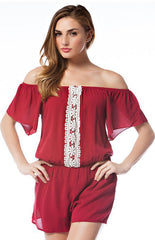 Off Shoulder Flutter Sleeve Romper Romper Entro - Bows and Arrows FSU Women's Game Day Dresses and Apparel