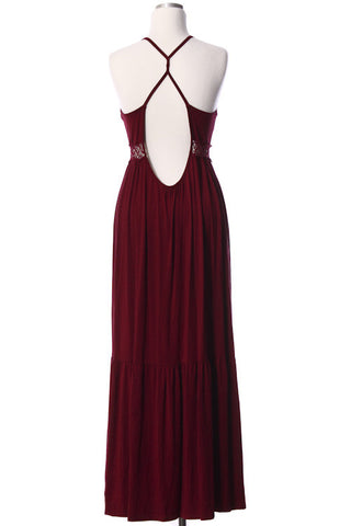 Open Back Garnet Maxi Dress Game Day Dresses Bows and Arrows Co LLC - Bows and Arrows FSU Seminoles and UF Gators Women's Game Day Dresses and Apparel