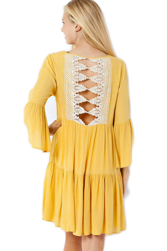Gold Lace Back Game Day Dress