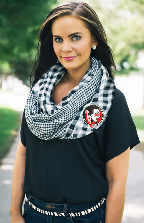 FSU Gingham Black and White Infinity Scarf Scarf Game Day Couture - Bows and Arrows FSU Seminoles and UF Gators Women's Game Day Dresses and Apparel