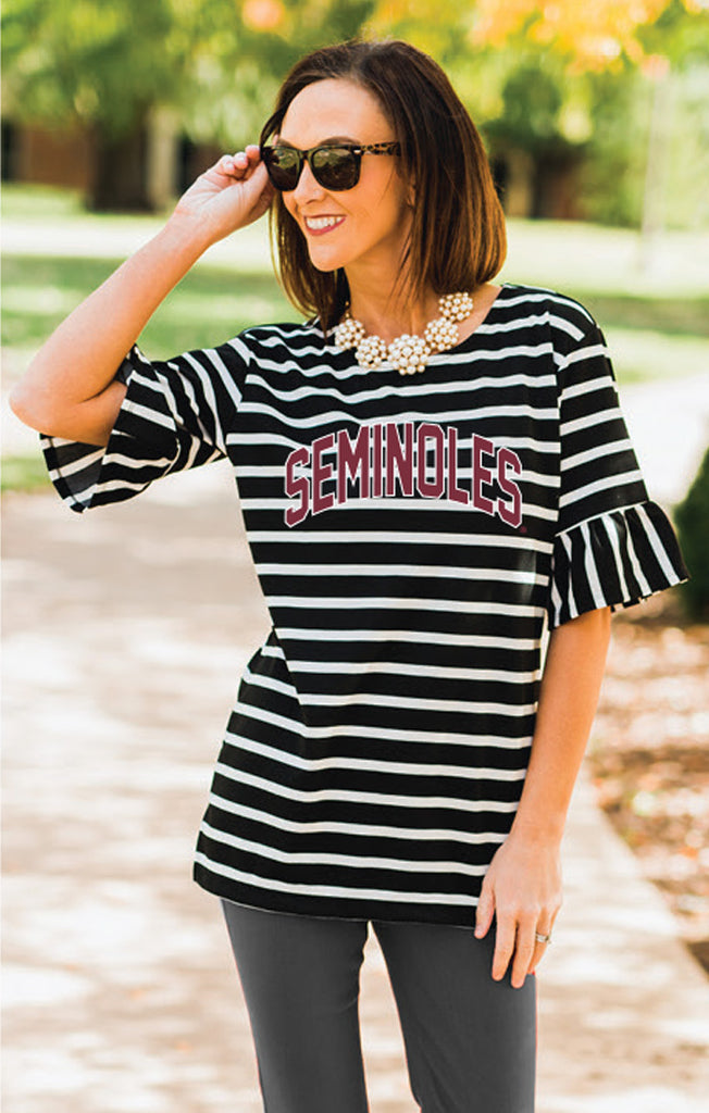 FSU Saved By the Bell Ruffle Sleeve Top