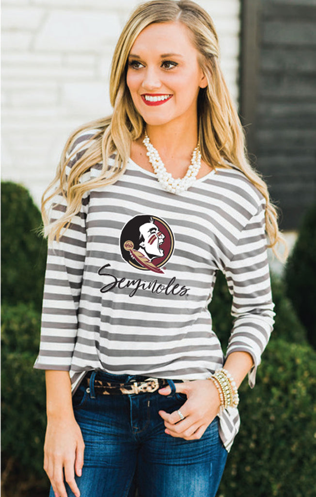 FSU Stay A While Striped Peplum Blouse