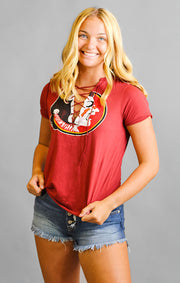 The Esmeralda Vintage Seminoles Lace-Up Tee - Garnet