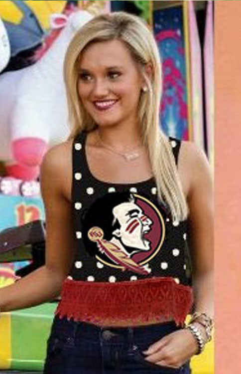 Seminole Crop Top Polka Dot Tank Tank Game Day Couture - Bows and Arrows FSU Seminoles and UF Gators Women's Game Day Dresses and Apparel