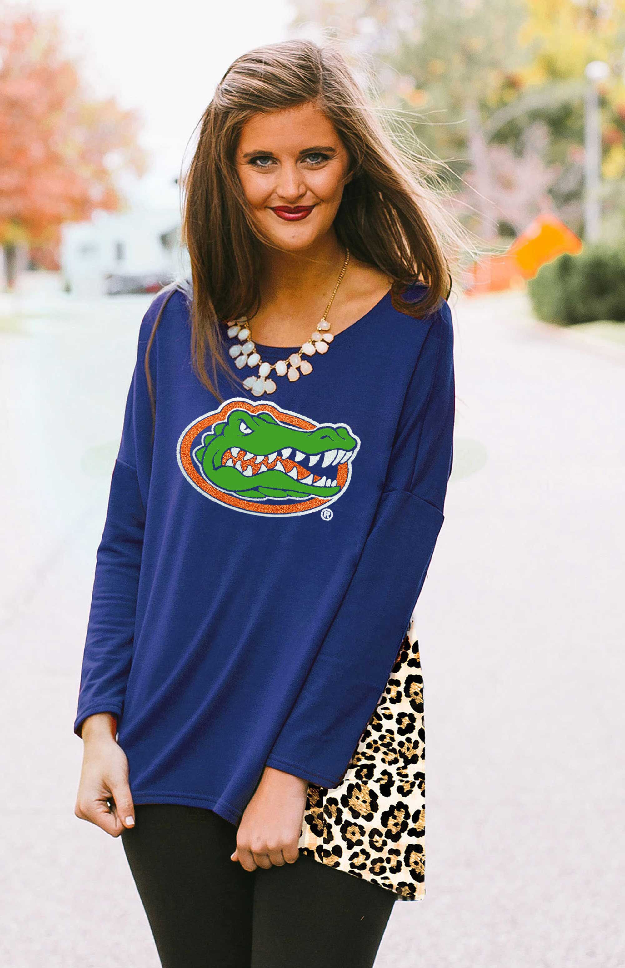 Leopard Back Oversized Florida Gator Piko Tunic Tunic Game Day Couture - Bows and Arrows FSU Seminoles and UF Gators Women's Game Day Dresses and Apparel