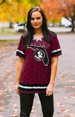 Florida State Oversized Lace Jersey Tee Game Day Couture - Bows and Arrows FSU Seminoles and UF Gators Women's Game Day Dresses and Apparel