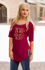 Beaded Trim Florida State Tee Tee Game Day Couture - Bows and Arrows FSU Women's Game Day Dresses and Apparel