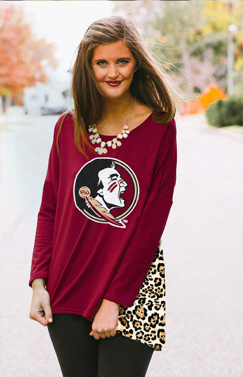 Leopard Back Oversized Florida State Piko Tunic Tunic Game Day Couture - Bows and Arrows FSU Seminoles and UF Gators Women's Game Day Dresses and Apparel