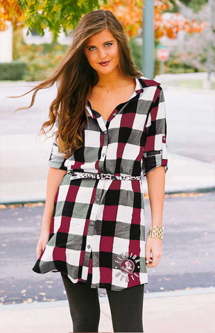 Florida State Plaid & Leopard Belted Dress Game Day Dresses Game Day Couture - Bows and Arrows FSU Seminoles and UF Gators Women's Game Day Dresses and Apparel