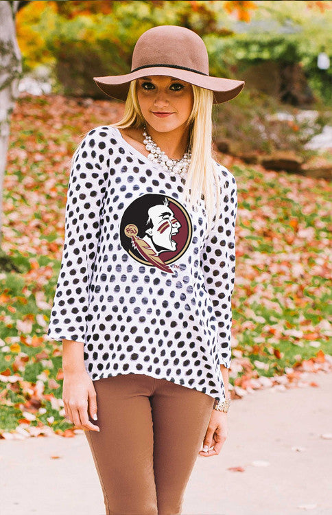 Seminoles Open Back Polka Dot Sweater Sweater Game Day Couture - Bows and Arrows FSU Seminoles and UF Gators Women's Game Day Dresses and Apparel
