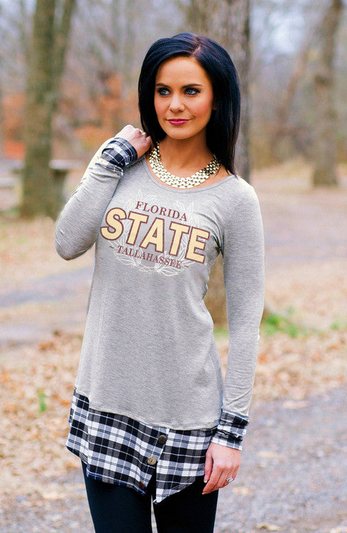 Florida State Plaid Button Tunic Tunic Game Day Couture - Bows and Arrows FSU Women's Game Day Dresses and Apparel