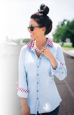 Seminole Gingham Chambray Button Down Tee Game Day Couture - Bows and Arrows FSU Seminoles and UF Gators Women's Game Day Dresses and Apparel
