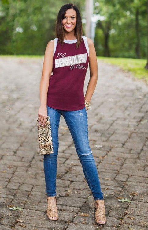 Go Seminoles High Neck Tank Tank Game Day Couture - Bows and Arrows FSU Seminoles and UF Gators Women's Game Day Dresses and Apparel