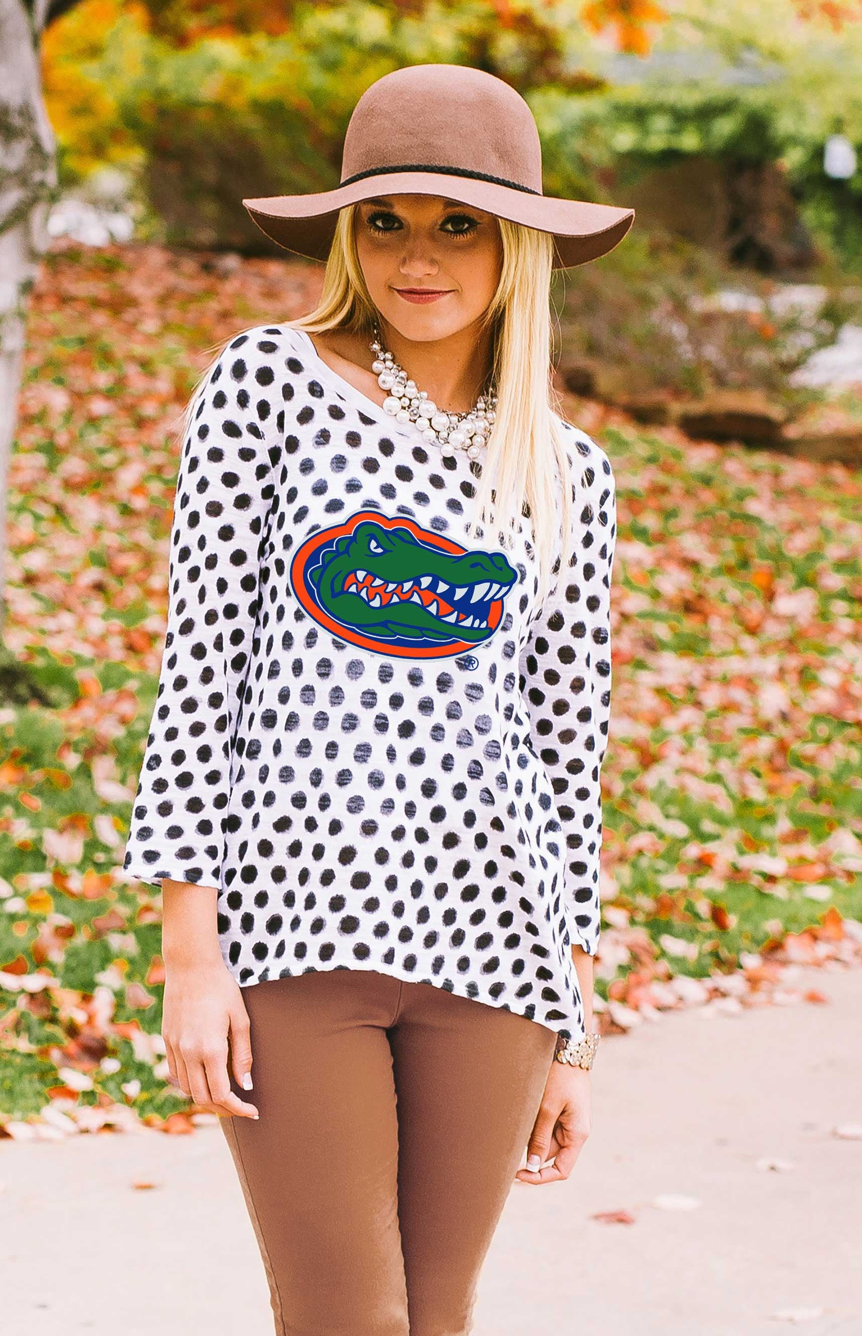 Gators Open Back Polka Dot Sweater Sweater Game Day Couture - Bows and Arrows FSU Seminoles and UF Gators Women's Game Day Dresses and Apparel