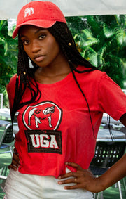 UGA Bulldogs Keep it Cropped Snow Washed Tee (3815522435120)