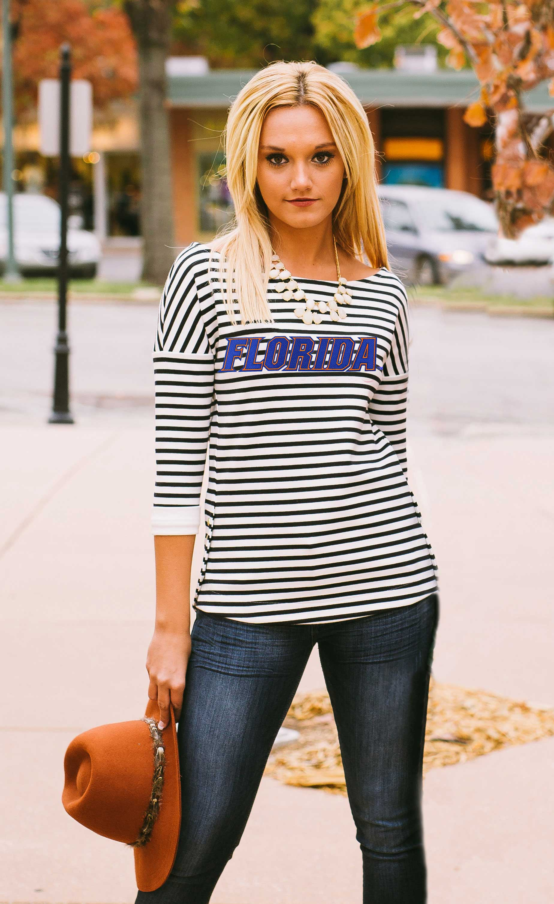 Florida Gators Side Button Top Tee Game Day Couture - Bows and Arrows FSU Seminoles and UF Gators Women's Game Day Dresses and Apparel