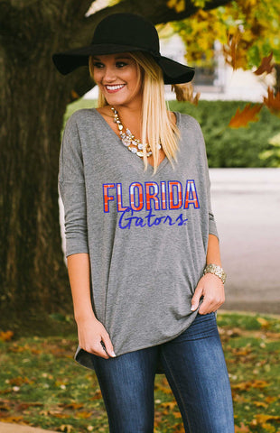 UF Gators Drop Hem Piko Top Tee Game Day Couture - Bows and Arrows FSU Seminoles and UF Gators Women's Game Day Dresses and Apparel