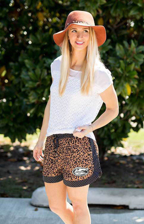 UF Leopard and Polka Dot Trim Shorts Shorts Game Day Couture - Bows and Arrows FSU Seminoles and UF Gators Women's Game Day Dresses and Apparel