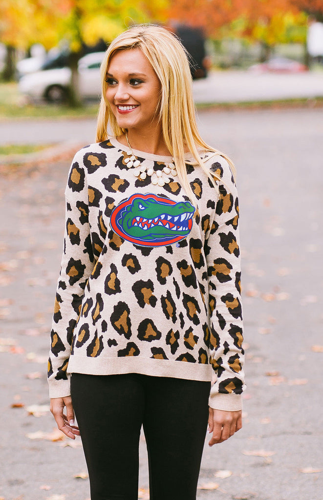 University of Florida Gators Leopard Print Sweater Sweater Game Day Couture - Bows and Arrows FSU Seminoles and UF Gators Women's Game Day Dresses and Apparel
