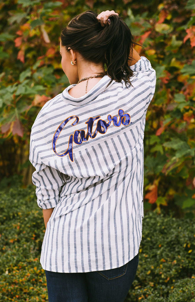 Gators Oversized Boyfriend Button Up Long Sleeve Tee Game Day Couture - Bows and Arrows FSU Seminoles and UF Gators Women's Game Day Dresses and Apparel