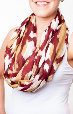 Indian Garnet & Gold Print Infinity Scarf Scarf Game Day Girl Stuff - Bows and Arrows FSU Women's Game Day Dresses and Apparel