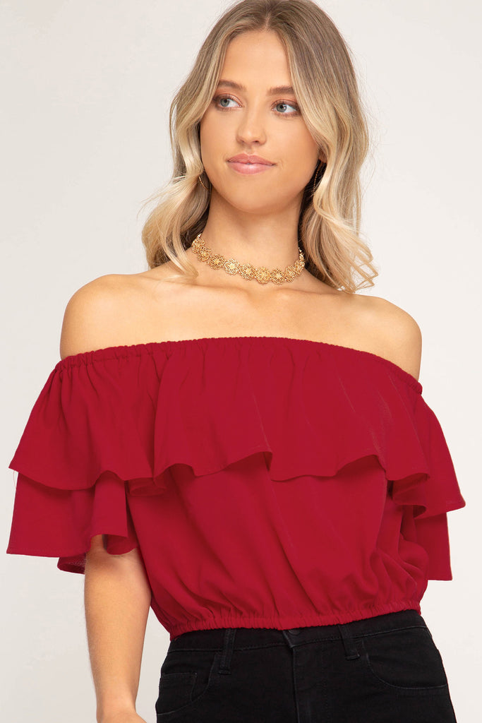 The Game Day Off the Shoulder Crop Top - Garnet