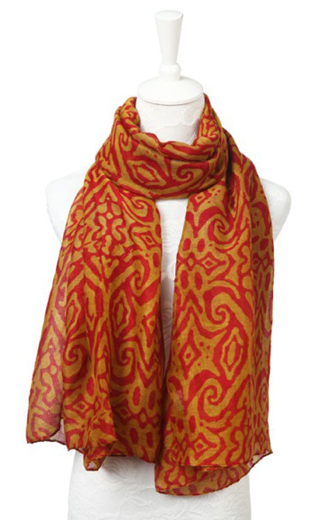 Garnet and Gold Ikat Print Scarf Scarf Alma Mater - Bows and Arrows FSU Seminoles and UF Gators Women's Game Day Dresses and Apparel